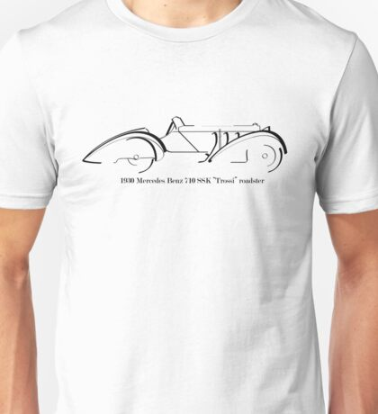 "1930 Mercedes Benz 710 SSK ""Trossi"" roadster black ink drawing Unisex T-Shirt"