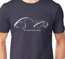 Bugatti 57SC Atlantique white line drawing Unisex T-Shirt