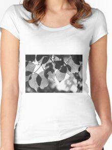 Backlit Leaves Black & White Graphic Women's Fitted Scoop T-Shirt