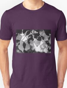 Backlit Leaves Black & White Graphic Unisex T-Shirt