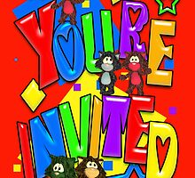 Party Invitation For Children Colourful Cats by Moonlake