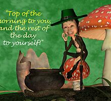 St. Patrick's Day Card With Leprechaun And Blessing  by Moonlake