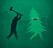 Funny Cartoon Christmas tree is chased by Lumberjack / Run Forrest, Run! by badbugs