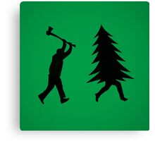 Funny Christmas tree is chased by Lumberjack / Run Forrest, Run! Canvas Print