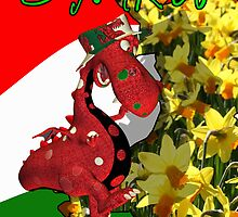 St. David's Day Card With Cute Dragon And Welsh Map by Moonlake