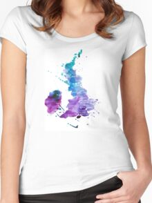 UK map in Watercolours Women's Fitted Scoop T-Shirt