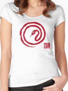 Chinese Galligraphic Snake as Symbol of Year 2013 Women's Fitted Scoop T-Shirt
