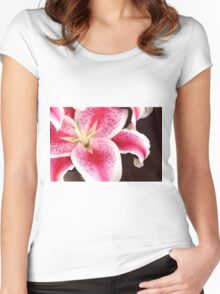 Pink Lily Macro Close Up Women's Fitted Scoop T-Shirt