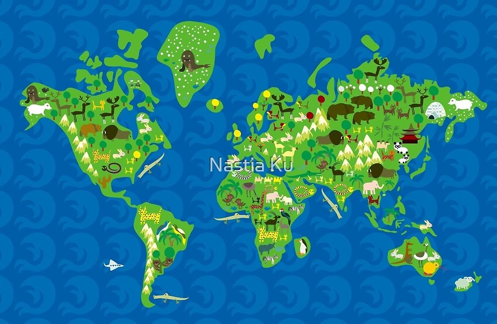 Cartoon Map of Flora and Fauna of the World  by Anastasiia Kucherenko