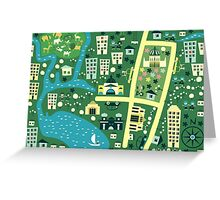 Cartoon Map of Melbourne Greeting Card