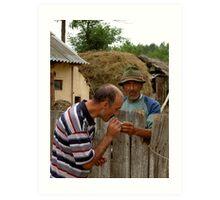 Romanian life - A helping hand Art Print
