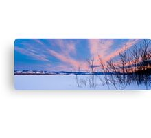 Scenic winter at frozen Lake Laberge Yukon Canada Canvas Print