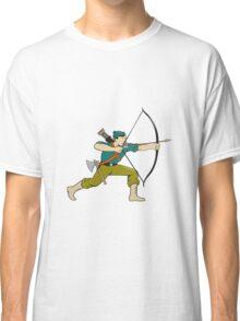 Archer Aiming Long Bow Arrow Cartoon Classic T-Shirt