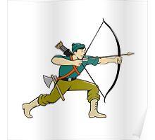 Archer Aiming Long Bow Arrow Cartoon Poster