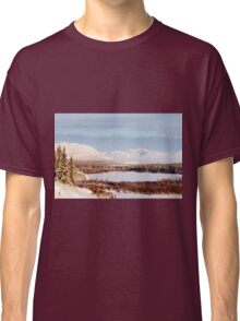 Scenic winter at frozen Lake Laberge Yukon Canada Classic T-Shirt