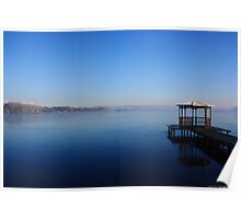 A gazebo over the frozen lake Poster