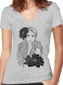 Tropical Girl Women's Fitted V-Neck T-Shirt