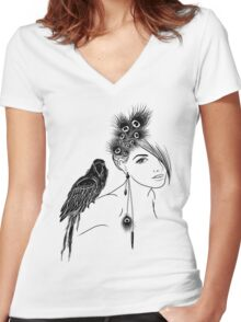 Parrot Girl 2 Women's Fitted V-Neck T-Shirt
