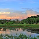 Waterscape With Sunset Clouds by EBArt
