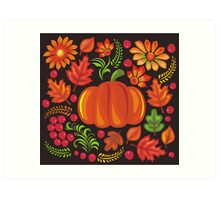 Pumpkin with flowers in Ukrainian style Art Print