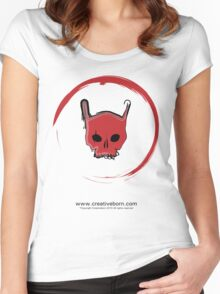 Red Skull White T-shirt Women's Fitted Scoop T-Shirt