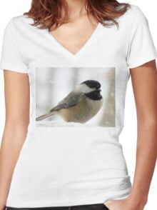 Chickadee In Snowstorm Women's Fitted V-Neck T-Shirt