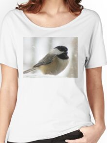 Chickadee In Snowstorm Women's Relaxed Fit T-Shirt
