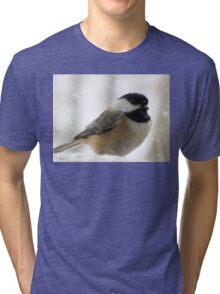 Chickadee In Snowstorm Tri-blend T-Shirt
