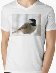 Chickadee In Snowstorm Mens V-Neck T-Shirt