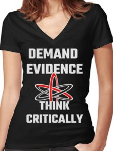 Demand Evidence Think Critically Women's Fitted V-Neck T-Shirt