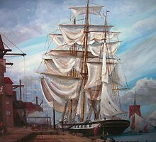 Drying Sails in Dock  by Woodie