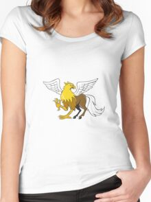 Hippogriff Prancing Isolated Cartoon Women's Fitted Scoop T-Shirt