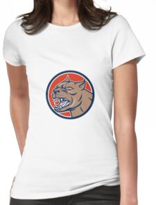 Pitbull Dog Mongrel Head Circle Cartoon Womens Fitted T-Shirt