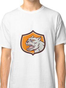 Pitbull Dog Mongrel Head Shield Cartoon Classic T-Shirt