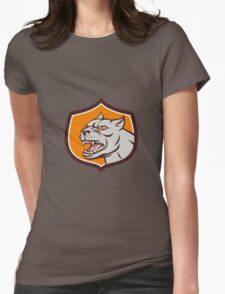 Pitbull Dog Mongrel Head Shield Cartoon Womens Fitted T-Shirt