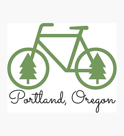 Portland - PDX - City of Trees and Bicycles Photographic Print