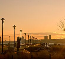 Photographing the Photographer.  West Harlem Piers Sunset by Dave Bledsoe