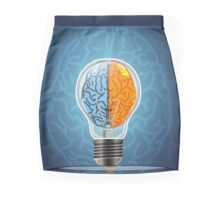 Symbol of idea with the brain shape left and right Mini Skirt