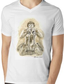 Detail of the fountain of Moro, Piazza Navona, Rome Mens V-Neck T-Shirt