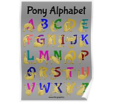 Pony Alphabet Chart, Colourful Poster