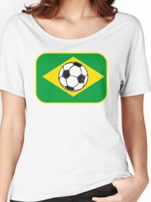 Brazil Flag | Football Sketch Women's Relaxed Fit T-Shirt