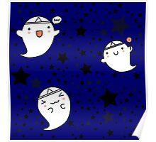 Kawaii Cute Halloween Ghosts Poster