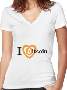 I Love Bitcoin Women's Fitted V-Neck T-Shirt