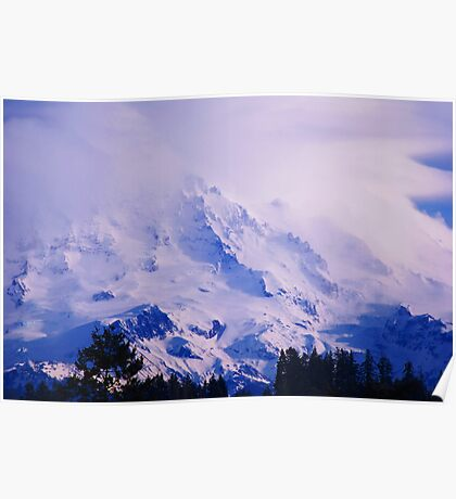 Lavender Rainier Poster