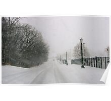 Snowy Roadway in South Bend, Indiana Poster