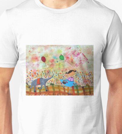 Girl and Elephant  Unisex T-Shirt