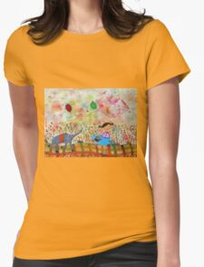 Girl and Elephant  Womens Fitted T-Shirt