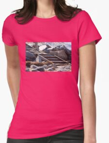 Snowy Beach Steps Womens Fitted T-Shirt