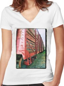 Old Train Car Women's Fitted V-Neck T-Shirt