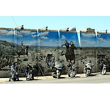 Cowboys Chasing Motorcycles Photographic Print